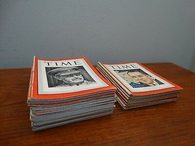 Lot of 34 Vintage WWII 1940 1941 1942 1943 1944 1945 Time Magazine