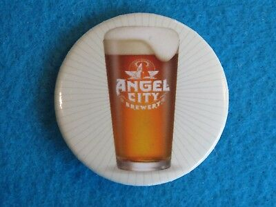 BEER BUTTON Pinback ~ ANGEL CITY Brewing Co Brew Glass ~ Los Angeles, CALIFORNIA