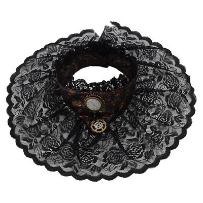 Steampunk Victorian Women's Hand Made Black Lace Necklace Ruffle Collar