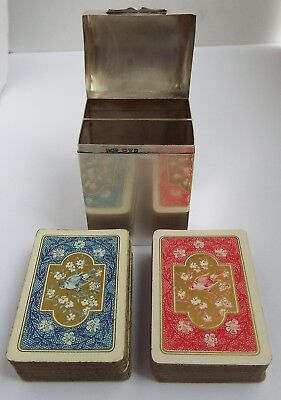 Superb English Antique 1910 Solid Sterling Silver Travelling Playing Card Box