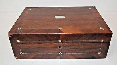 Antique Mahogany Veneer Writing Slope Box with Brass Banding & Mother of Pearl