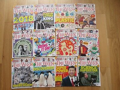 The Week Junior Children's News Magazine Bundle. 12 Issues Jan - March 2018