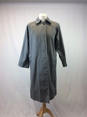 Vintage Burberry - Size 12 - Ladies Long Grey Trench Coat Checked Lining
