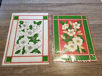 Vintage Hobbytex Pre-shaded Picture Xmas / Christmas Placemats x 2 USED