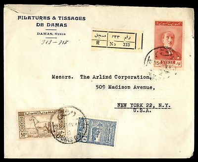 Filatures & Tissages De Damas May 12Th Registered Cover With Postal Fiscal To Ny