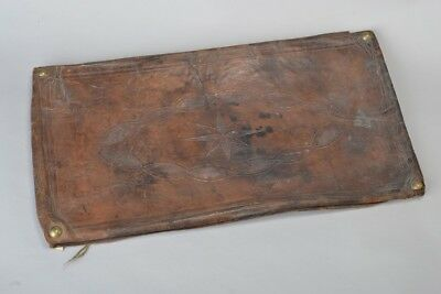 Marvelous Tooled Leather Lid off a Victorian Leather Trunk / Chest. Ref FCN
