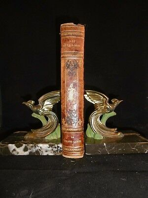 Perfect pair of French Art Deco bird of paradise book ends. Marble & Spelter.