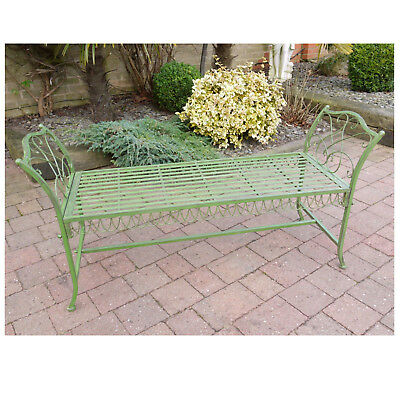 Antique Green Wrought Iron Garden Bench Stool Vintage Style 2 To 3 Seater Chair