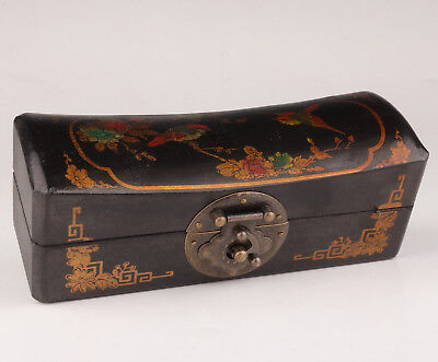 Black Leather Jewelry Box Old Hand-Painted Flower Bird Dowry Collection