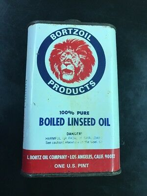 Vintage Bortzoil Linseed Oil 1 Pint Can Great Graphics