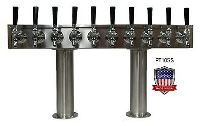 Stainless Steel Beer Tower Made in USA - 10 Faucets - GLYCOL COOLED -PT10SSG