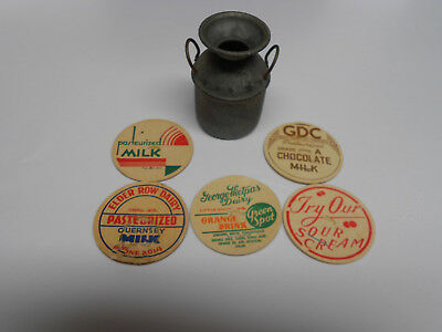 5 Old Milk Bottle Caps - Plas - And Old Small Metal Water Bucket