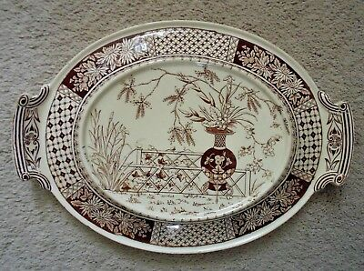 19c Copeland Brown Transferware Underplate for Casserole Soup Tureen Aesthetic