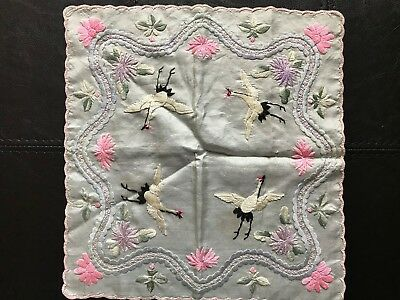 BEAUTIFUL Vintage Antique Silk Japanese Embroidered Handkerchief Cranes