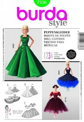 Burda Craft Sewing Pattern 7336 Barbie Doll Style Doll Clothes Ballroom Gown ...