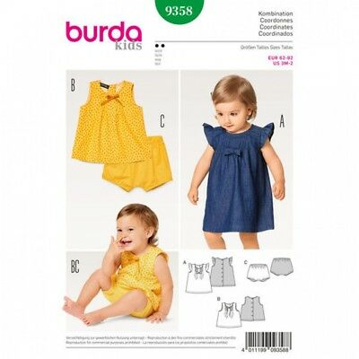 BURDA BABY & Toddlers Easy Sewing Pattern 9358 Dress, Top & Panties ...