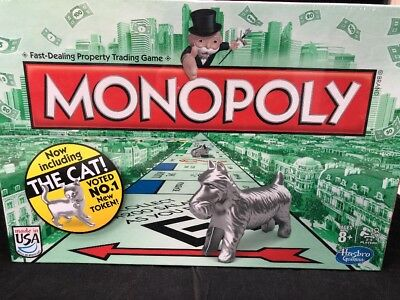 HASBRO CLASSIC MONOPOLY BOARD GAME with CAT PIECE EDITION USA NEW SEALED