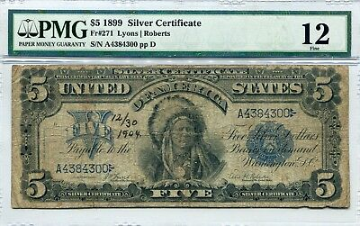 Docs $5.00 Indian Chief Note 1899 Fr#271 - PMG  Fine 15 Annotation! Free Ship!