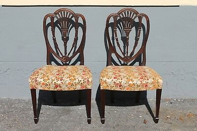 PAIR SHERATON style MASTERFULLY CARVED MAHOGANY SIDE CHAIRS - 1950's