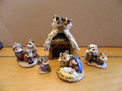 Wee Forest Folk WFF Christmas Nativity 5 Pc Set Wise Men Angel Mouse Figurine