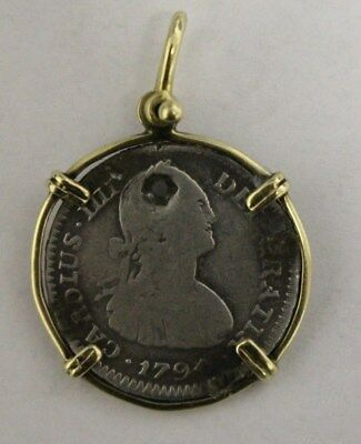 1794 Shipwreck  Pirate Silver Coin In 14 Kt. Gold Bezel