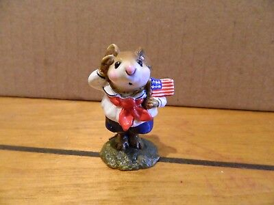 Wee Forest Folk WFF M-168 Stars & Stripes 4th of July Mouse Figurine