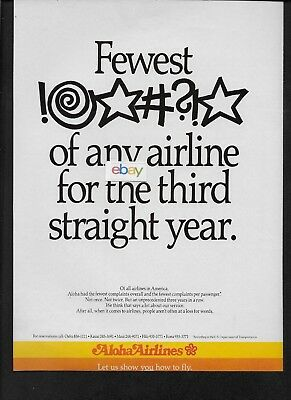 Aloha Airlines Fewest Number Of Complaints Of Any Airline 3Rd Year 1987 Ad