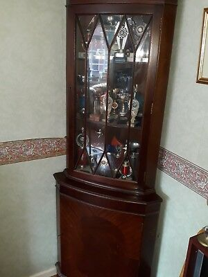 Mahogany Tall Corner Display Cabinet With Glass Top Case Collect Leicester