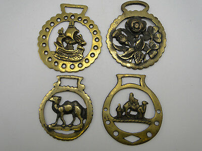 4 old Cast English Horse Brass Harness Ornaments