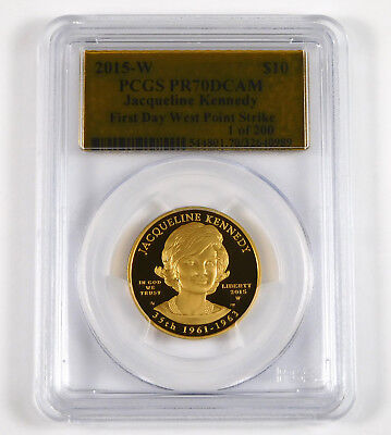 2015-W $10 Jacqueline Kennedy 1/2 Oz .9999 Gold Proof - PCGS PR 70 Deep Cameo