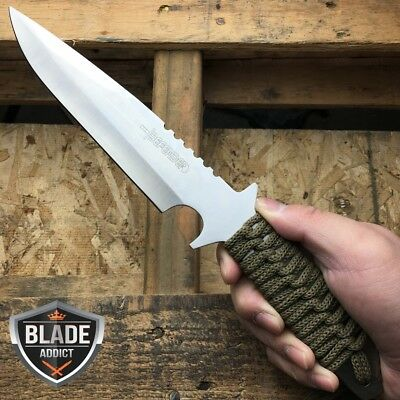 """11.5"""" Full Tang Tactical Combat Hunting Knife W/ Sheath Survival Camping Bowie T"""
