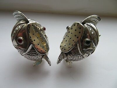 STUNNING PAIR of SPANISH SOLID SILVER FISH PEPPER POTS