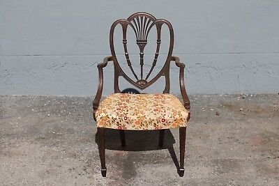 C1950'S HEAVILY CARVED MAHOGANY SHERATON style SINGLE OCCASIONAL CHAIR