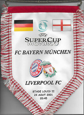 Official Pennant 2001 UEFA Super Cup Final - LIVERPOOL v. FC BAYERN MUNCHEN