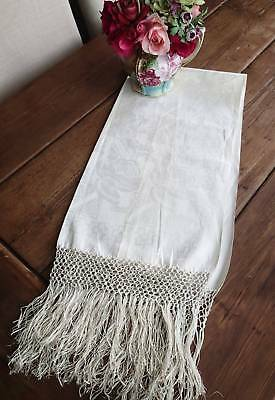 Luscious Antique c1900 Damask Show Towel Made In Italy Tag GREAT DISPLAY