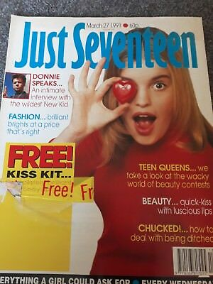 Just Seventeen Magazine March 27 1991 Donnie Wahlberg,Michael Hutchence, Rob low