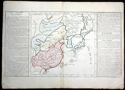 ca. 1780 China Japan Korea Nipon Asia continent Clouet antique print Kupferstich