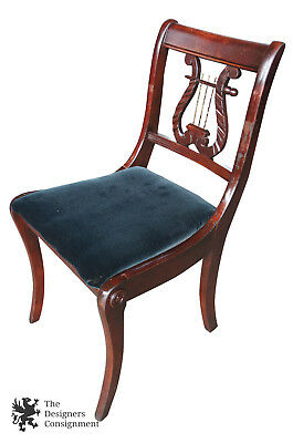 Antique Duncan Phyfe Harp Back Occasional Dining Chair Velvet Seat Mahogany