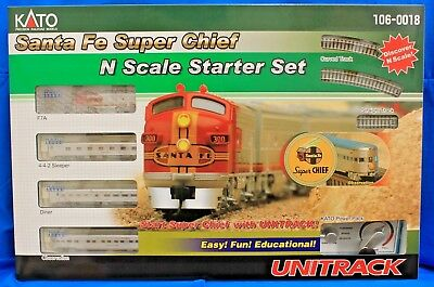 N Scale- KATO UNITRACK 106-0018 SANTA FE Super Chief Starter Set with Power Pack