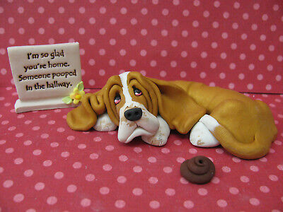 "Handsculpted Gold Basset Hound ""Someone pooped in the hallway"" 3 pc. Figurine"