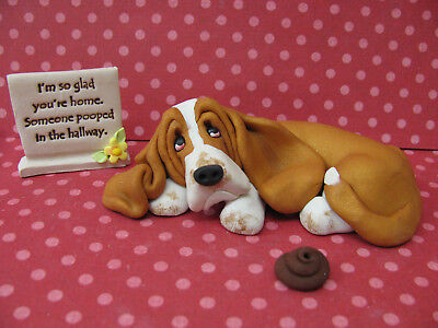 "Handsculpted Red Basset Hound ""Someone pooped in the hallway"" 3 pc. Figurine"