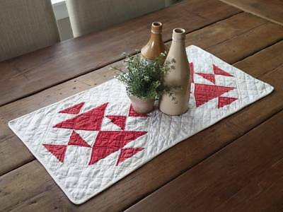 Antique c1880 Turkey Red & White Hens & Chicks QUILT Farmhouse Table Runner