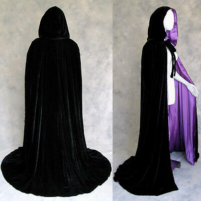 Lined Black Velvet Purple Cosplay Cloak Cape Wedding Wicca LOTR LARP GOT Goth