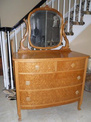 Antique Birdseye Maple Princess Serpentine Dresser w/ Oval Mirror