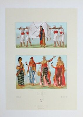 1880 - Tracht Trachten costumes Frau woman Indien India Lithographie lithograph