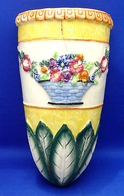 Vintage Antique Wall Pocket Maruhon Japan Egyptian Yellow Flower Basket AS IS