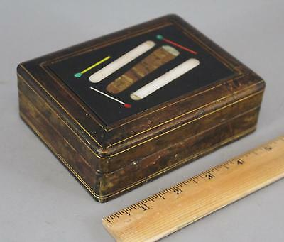 Antique 1930s Petra Dura, Inlaid Marble Cigar, Cigarettes & Matches, Leather Box
