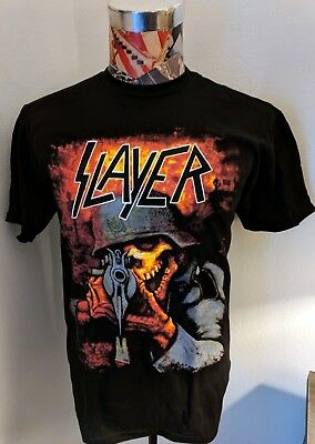 Brand New Slayer Logo Full Color Sharpshooter Skeleton Soldier Black T Shirt
