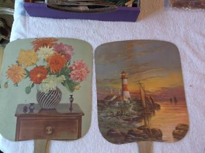 2 Advertising Fans  J.W. Brown Funeral & Ambulance Service  Forrest IL Phone #92