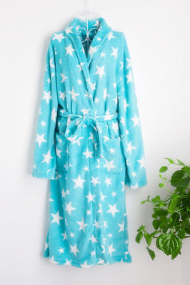 Luxury Womens Thermal Coral Fleece Dressing Gowns Super soft Bath Robes Summer